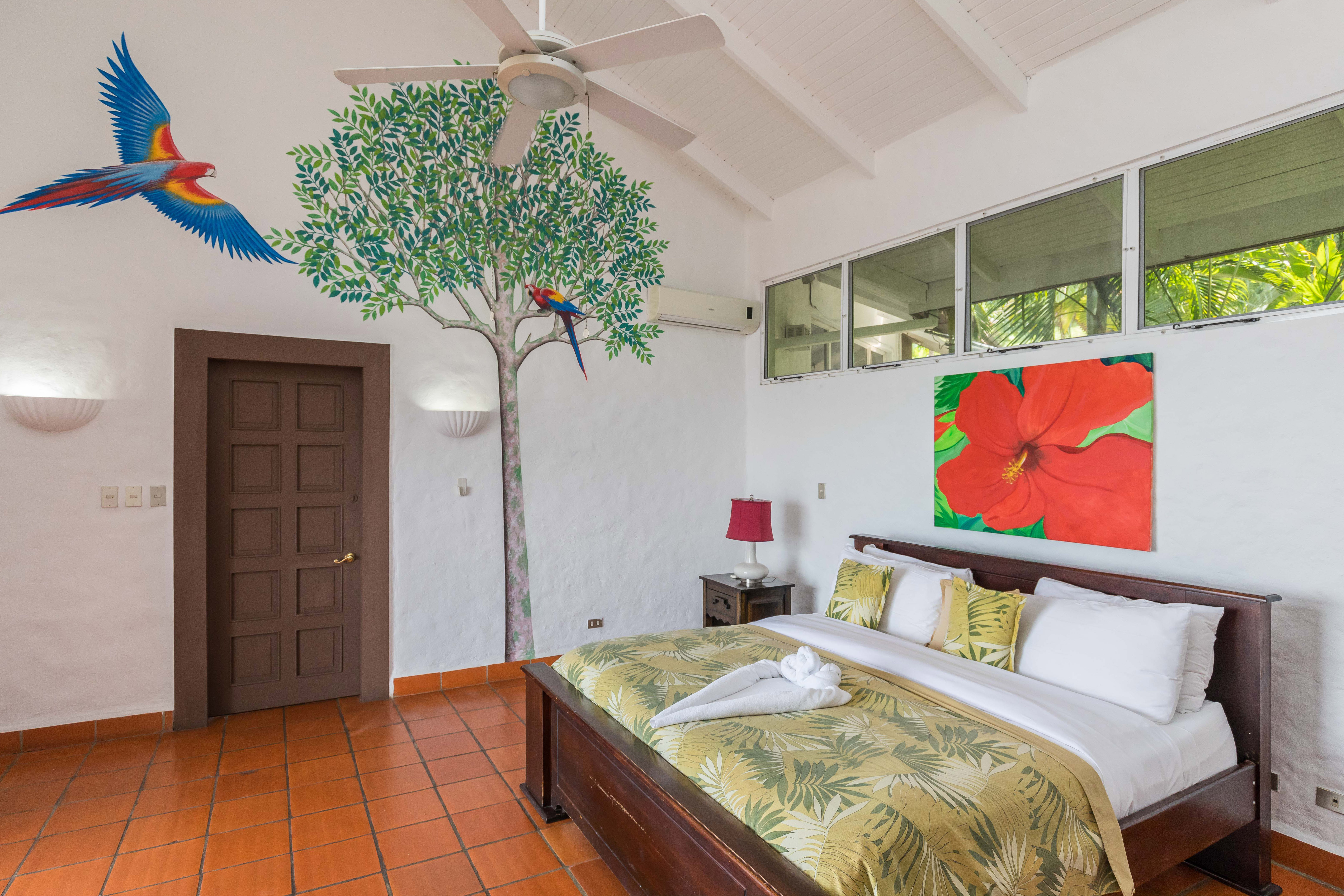 Bedroom 3 with new Scarlet Macaw painting