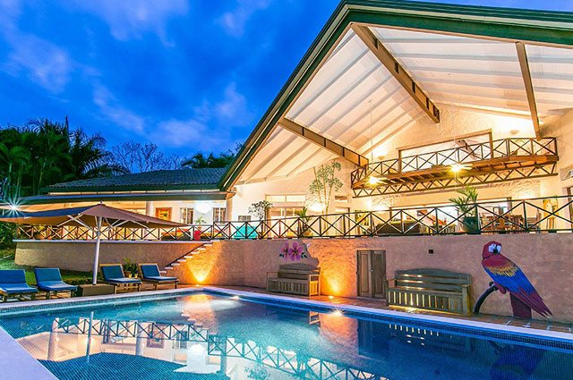 Manuel Antonio Vacation Rental VP Private Resort pool and deck at night