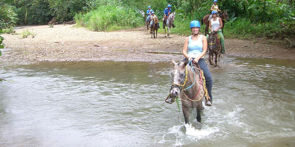 Horseback tour in jungle river
