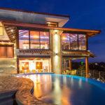 Villa Celaje exterior and pool at night
