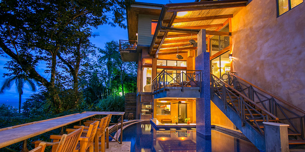 Casa Reserva pool at night