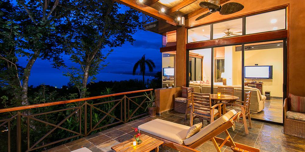 Casa Reserva balcony view at night
