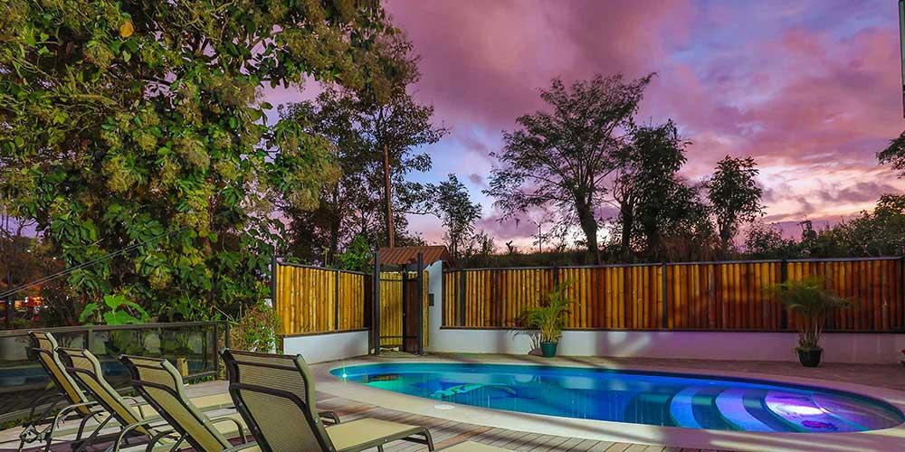 Casa Wyrica pool deck sunset